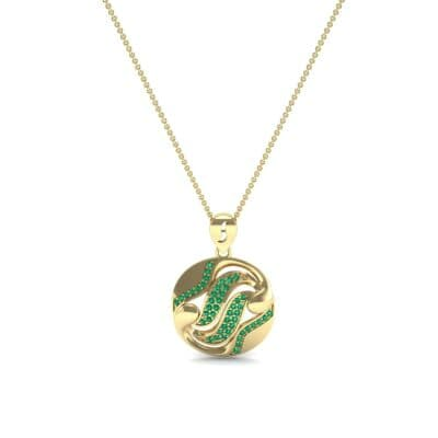 Tigress Circle Emerald Pendant (0.31 CTW) Perspective View