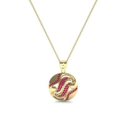 Tigress Circle Ruby Pendant (0.31 CTW) Perspective View