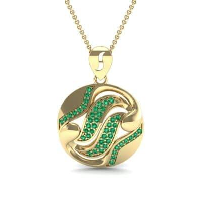 Tigress Circle Emerald Pendant (0.31 CTW) Top Dynamic View