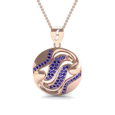 Tigress Circle Blue Sapphire Pendant (0.31 CTW) Top Dynamic View