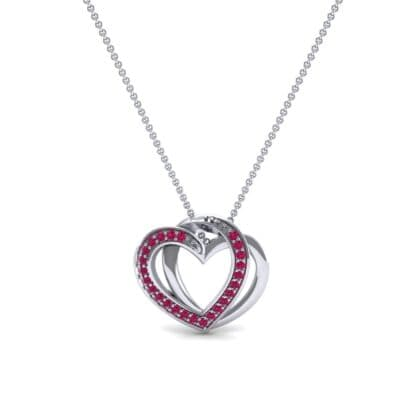 Pave Interlace Ruby Necklace (0.18 CTW) Top Dynamic View