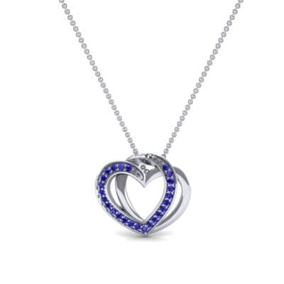 Pave Interlace Blue Sapphire Necklace (0.18 CTW) Top Dynamic View