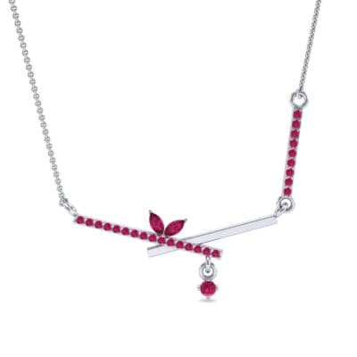 Pave Crossed Bar Ruby Necklace (0.51 CTW) Top Dynamic View
