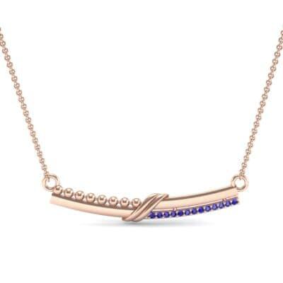 Dot Slash Bar Blue Sapphire Necklace (0.13 CTW) Top Dynamic View