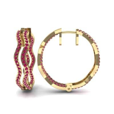 Freeform Pave Ruby Huggie Earrings (1.96 CTW) Top Dynamic View