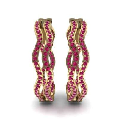 Freeform Pave Ruby Huggie Earrings (1.96 CTW) Side View