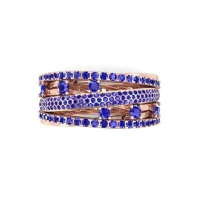 Twist Medley Blue Sapphire Ring (1.09 CTW) Top Flat View