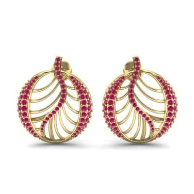 Palma Pave Ruby Earrings (1.1 CTW) Side View
