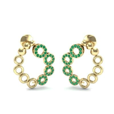 Half-Pave Eyelet Emerald Earrings (0.44 CTW) Perspective View