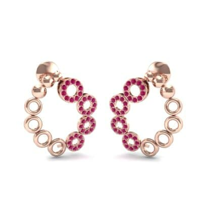 Half-Pave Eyelet Ruby Earrings (0.44 CTW) Perspective View