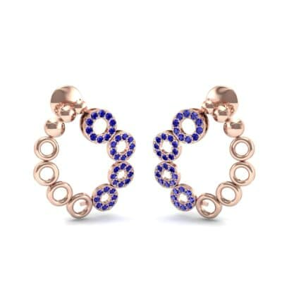 Half-Pave Eyelet Blue Sapphire Earrings (0.44 CTW) Perspective View