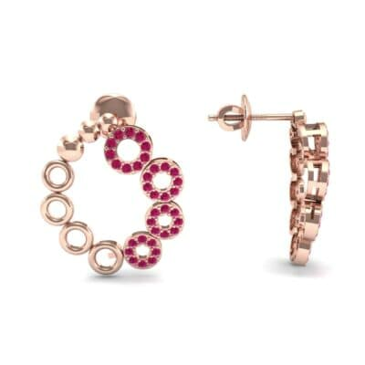 Half-Pave Eyelet Ruby Earrings (0.44 CTW) Top Dynamic View