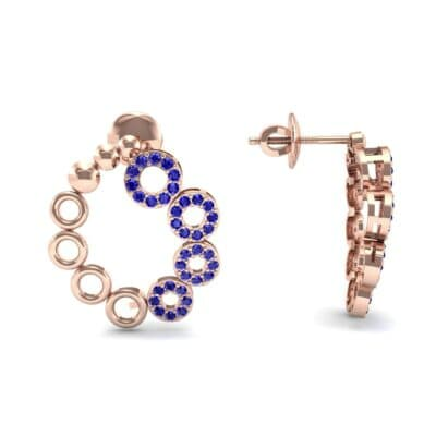 Half-Pave Eyelet Blue Sapphire Earrings (0.44 CTW) Top Dynamic View