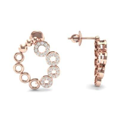 Half-Pave Eyelet Diamond Earrings (0.44 CTW) Top Dynamic View