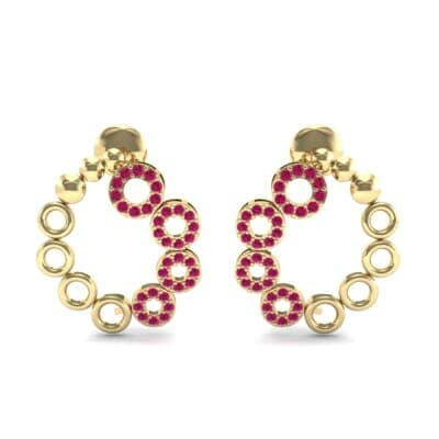 Half-Pave Eyelet Ruby Earrings (0.44 CTW) Side View