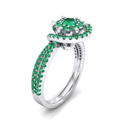 Reverse Split Shank Halo Emerald Engagement Ring (0.84 CTW) Perspective View