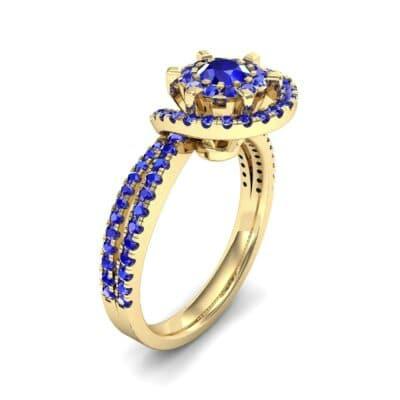 Reverse Split Shank Halo Blue Sapphire Engagement Ring (0.84 CTW) Perspective View