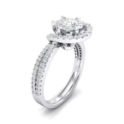 Reverse Split Shank Halo Diamond Engagement Ring (0.84 CTW) Perspective View