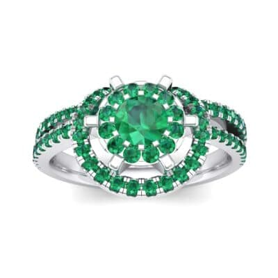 Reverse Split Shank Halo Emerald Engagement Ring (0.84 CTW) Top Dynamic View
