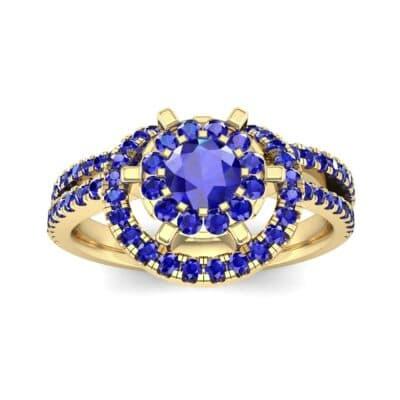 Reverse Split Shank Halo Blue Sapphire Engagement Ring (0.84 CTW) Top Dynamic View