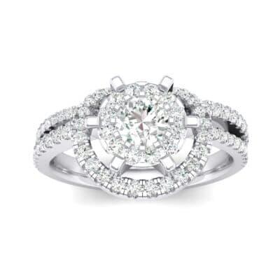 Reverse Split Shank Halo Diamond Engagement Ring (0.84 CTW) Top Dynamic View