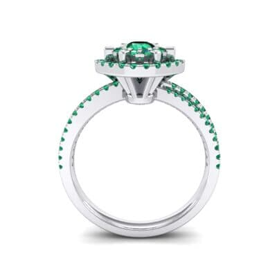 Reverse Split Shank Halo Emerald Engagement Ring (0.84 CTW) Side View