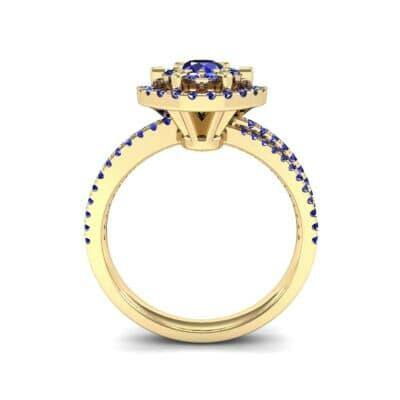 Reverse Split Shank Halo Blue Sapphire Engagement Ring (0.84 CTW) Side View