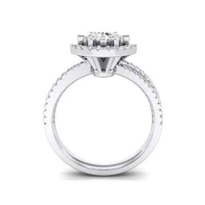 Reverse Split Shank Halo Diamond Engagement Ring (0.84 CTW) Side View