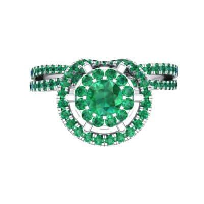Reverse Split Shank Halo Emerald Engagement Ring (0.84 CTW) Top Flat View