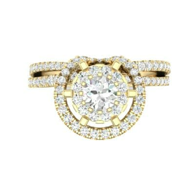 Reverse Split Shank Halo Diamond Engagement Ring (0.84 CTW) Top Flat View