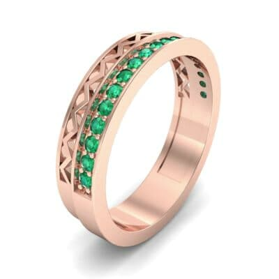 Half-Pave Lattice Emerald Ring (0.23 CTW) Perspective View