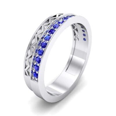 Half-Pave Lattice Blue Sapphire Ring (0.23 CTW) Perspective View