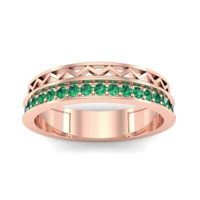 Half-Pave Lattice Emerald Ring (0.23 CTW) Top Dynamic View