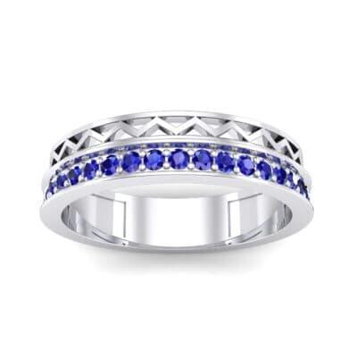 Half-Pave Lattice Blue Sapphire Ring (0.23 CTW) Top Dynamic View