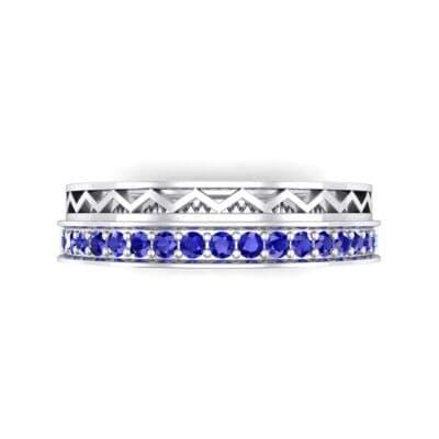 Half-Pave Lattice Blue Sapphire Ring (0.23 CTW) Top Flat View