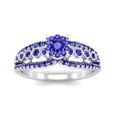 Three Row Split Shank Blue Sapphire Ring (0.47 CTW) Top Dynamic View