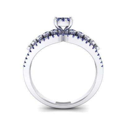 Three Row Split Shank Blue Sapphire Ring (0.47 CTW) Side View