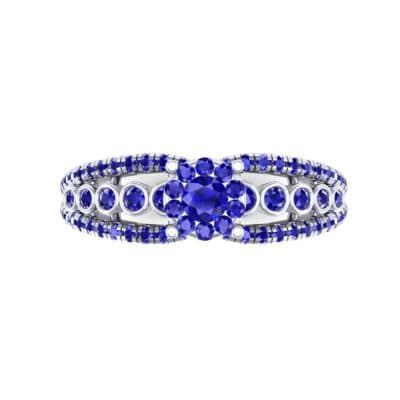 Three Row Split Shank Blue Sapphire Ring (0.47 CTW) Top Flat View