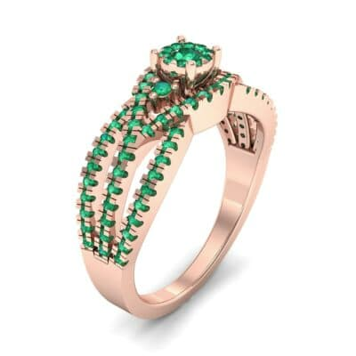 Intertwining Shank Halo Emerald Ring (0.51 CTW) Perspective View