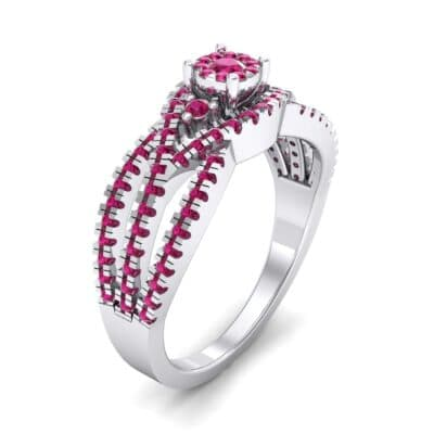 Intertwining Shank Halo Ruby Ring (0.51 CTW) Perspective View
