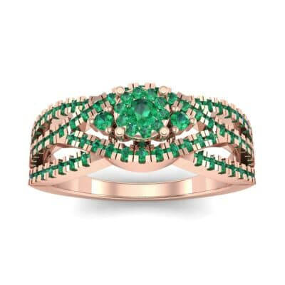 Intertwining Shank Halo Emerald Ring (0.51 CTW) Top Dynamic View