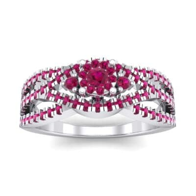 Intertwining Shank Halo Ruby Ring (0.51 CTW) Top Dynamic View