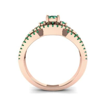 Intertwining Shank Halo Emerald Ring (0.51 CTW) Side View