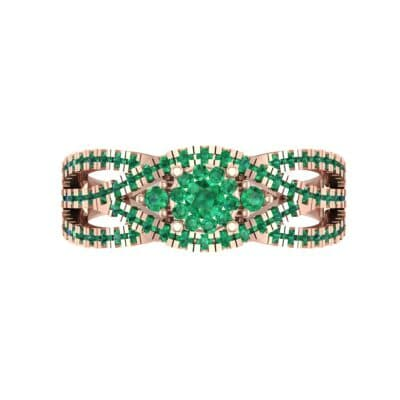 Intertwining Shank Halo Emerald Ring (0.51 CTW) Top Flat View