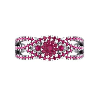 Intertwining Shank Halo Ruby Ring (0.51 CTW) Top Flat View