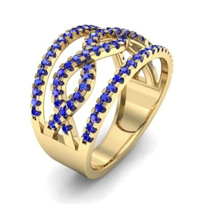 Wide Center Twist Blue Sapphire Ring (0.52 CTW) Perspective View