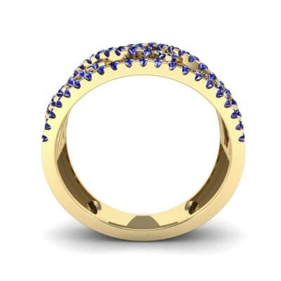 Wide Center Twist Blue Sapphire Ring (0.52 CTW) Side View