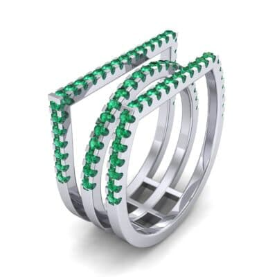Three Row Geometry Emerald Ring (0.73 CTW)
