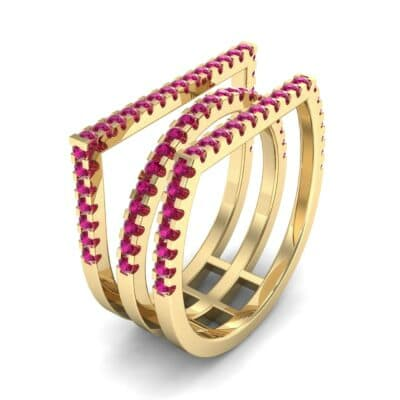 Three Row Geometry Ruby Ring (0.73 CTW)