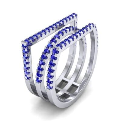 Three Row Geometry Blue Sapphire Ring (0.73 CTW)